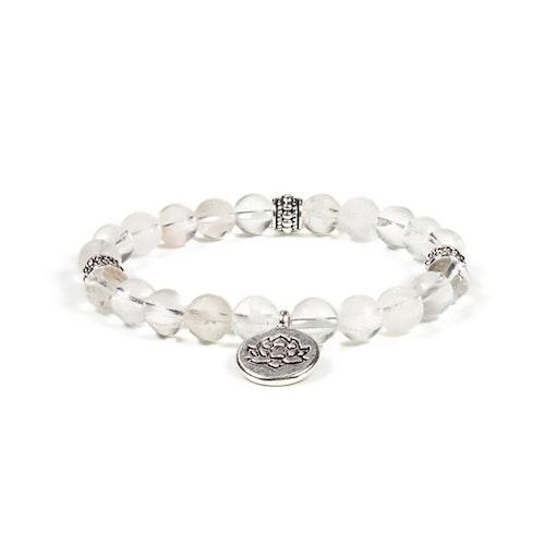 Bergkristall elastiskt armband med Lotus
