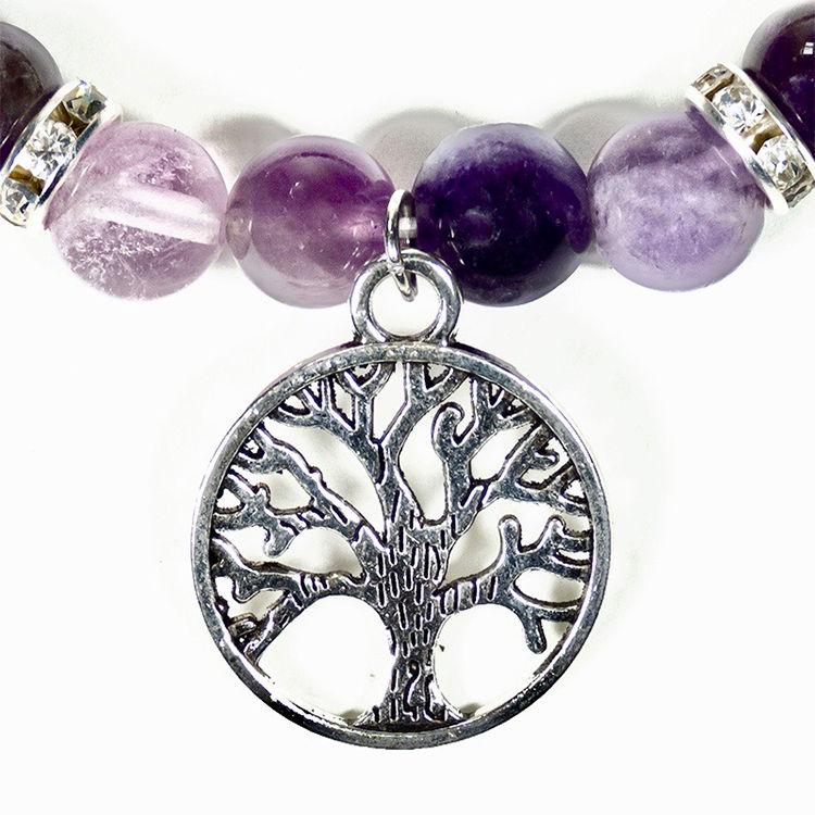 Ametist och Fluorit armband med Livets Träd