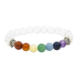 7 chakra armband med bergkristall 8 mm pärlor