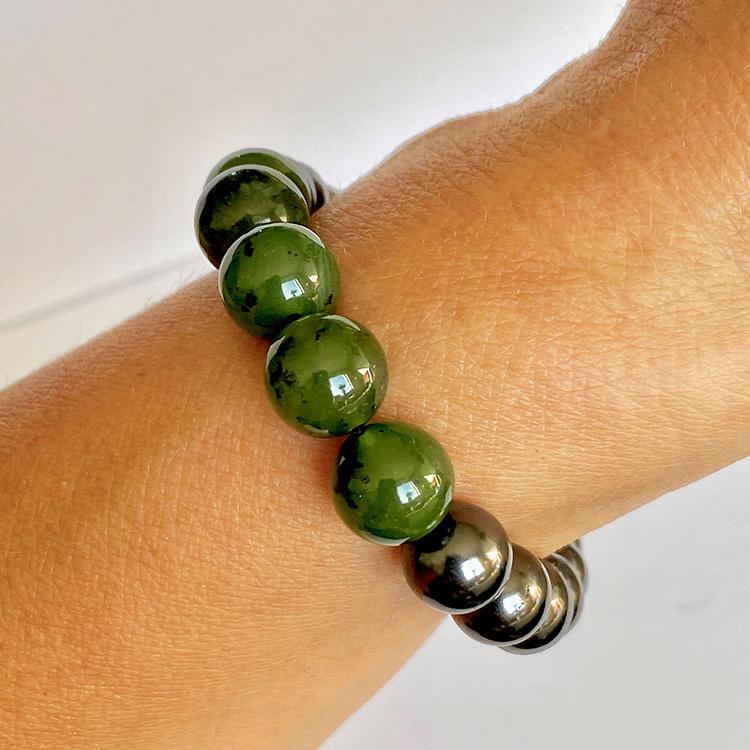 Shungit armband med grön Jade