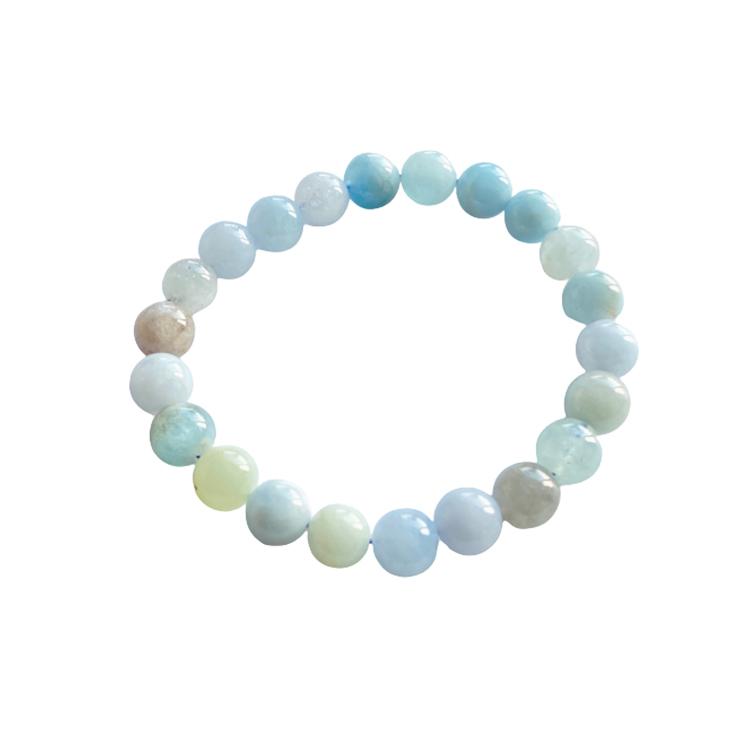 Akvamarin armband 8 mm pärlor