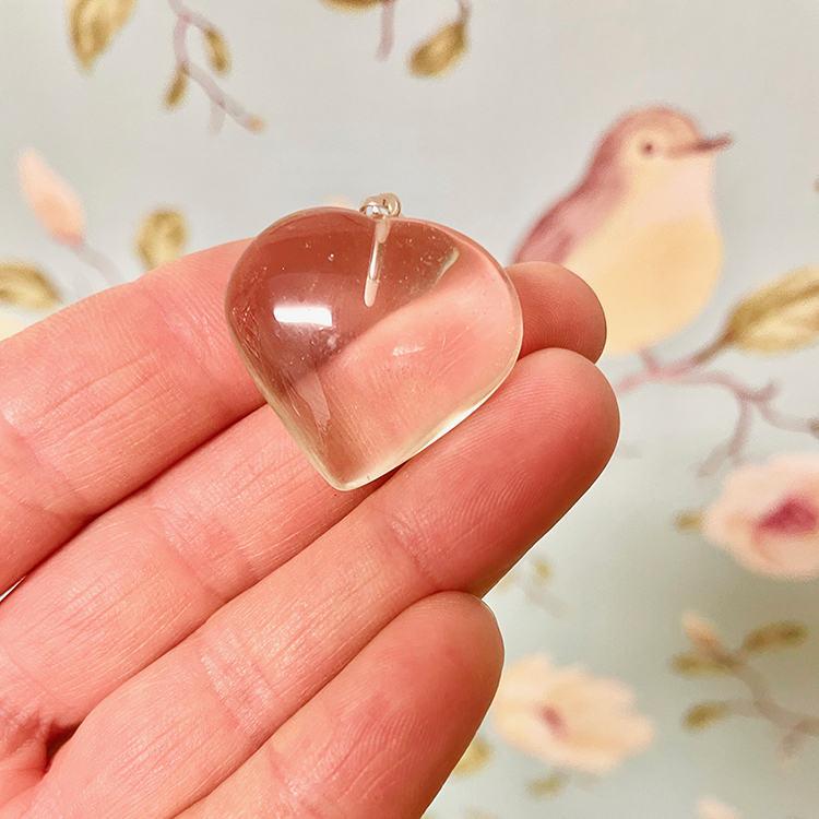 Citrin Hjärta Hängsmycke 3 cm