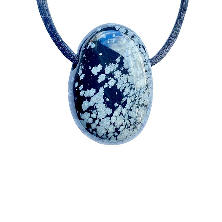 Obsidian snöflinga A hängsmycke
