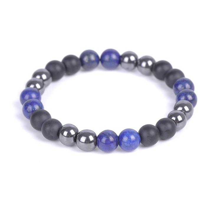 Svart onyx, Hematit och Lapis lazuli armband 8 mm pärlor