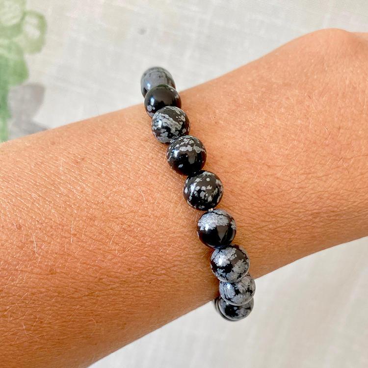 Snöflinge Obsidian armband 8 mm pärlor