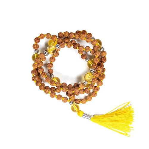 Mala Rudraksha och Citrin 108 pärlor