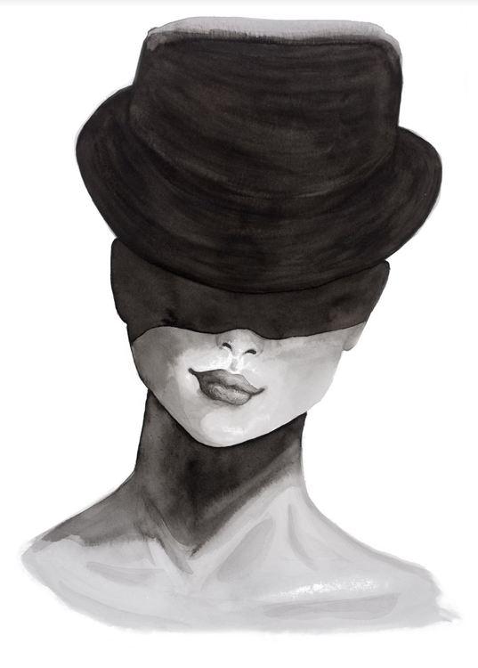 Dam med hatt och leende - NY