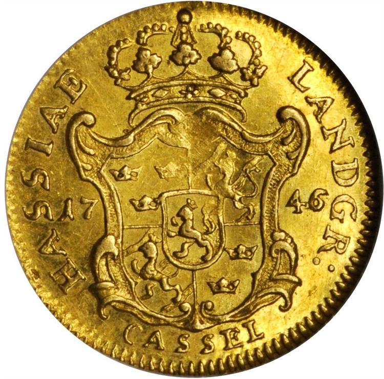 Sverige, Fredrik I 1720-1751, Lantgreve av Hessen, gulddukat 1746 - RR - ETT EXTREMT OVANLIGT TYPMYNT