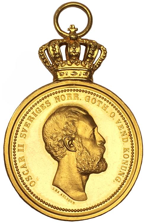 Sverige, Oskar II 1872-1907,  Kungliga Patriotiska Sällskapets belöningsmedalj i guld - RAR