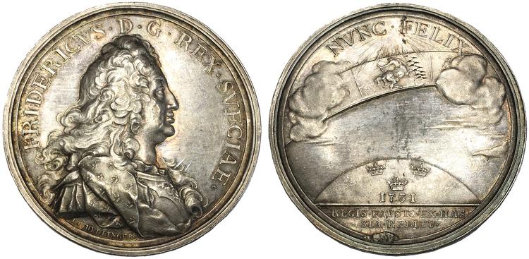 Sverige, Fredrik I 1720-1751, Den Hessiska resan 1731 - Silvermedalj med anledning av återkomsten till Sverige graverad av Hedlinger - RR