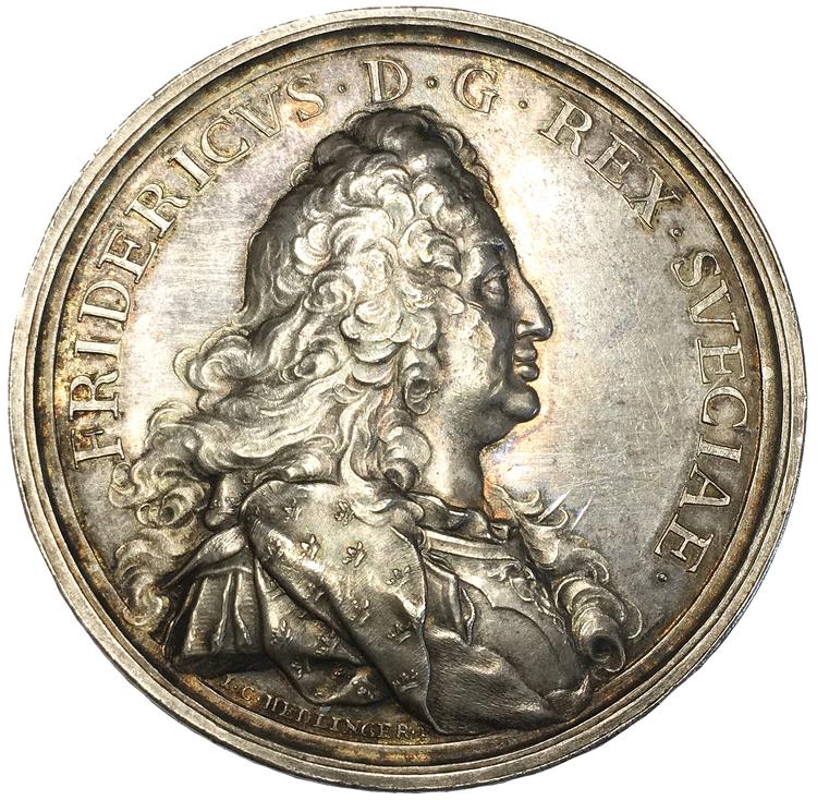 Sverige, Fredrik I 1720-1751, Den Hessiska resan 1731 - Silvermedalj med anledning av återkomsten till Sverige - RR