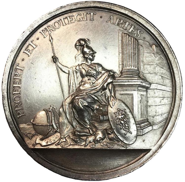 Sverige, Fredrik I 1720-1751, Silvermedalj, Nikodemus Tessin d.y, 1728 av J. C. Hedlinger