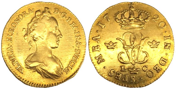 Sverige, Ulrika Eleonora 1719-1720, Gulddukat 1720 -  Ovanligt vackert och tilltalande exemplar