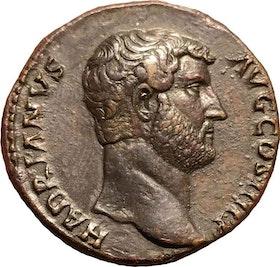 """Romerska riket, Hadrianus 117-138. Sestertie med """"Medaljprägling"""""""