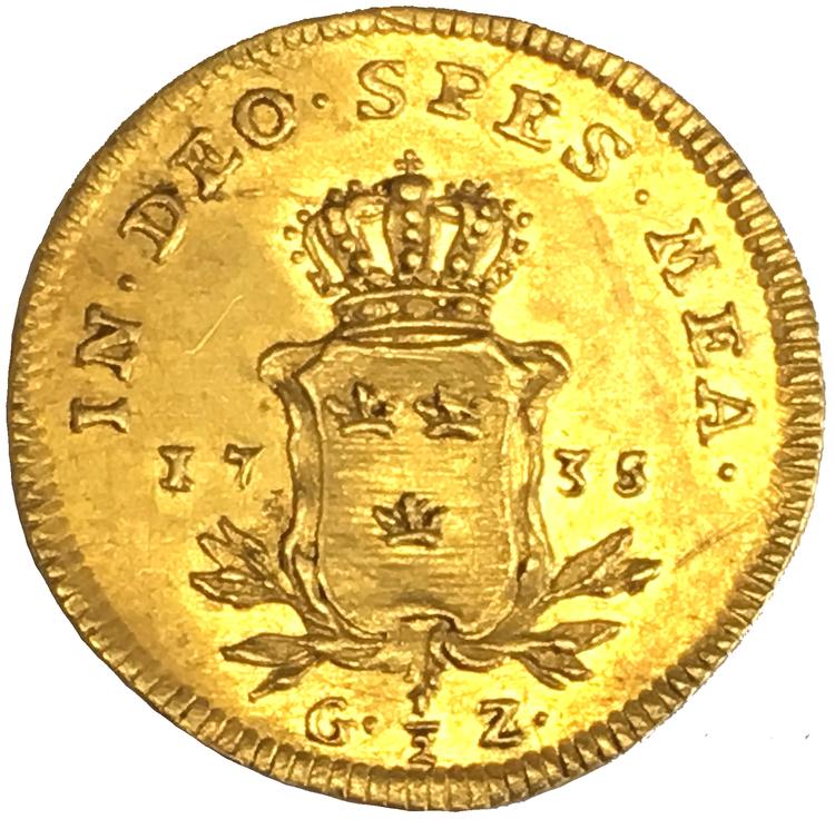 Sverige, Fredrik I 1720-1751, 1/2 Gulddukat 1735 - MYCKET VACKERT EXEMPLAR