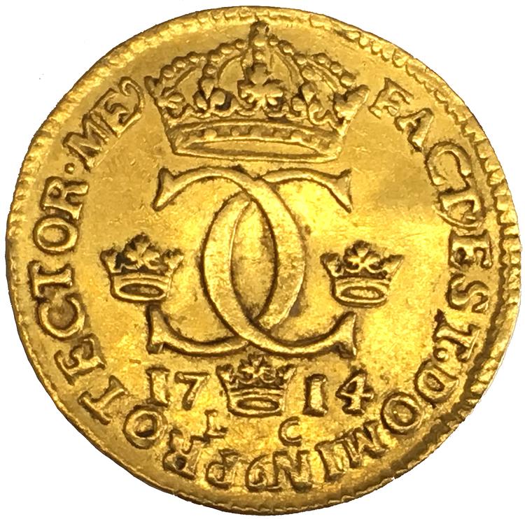 Sverige, Karl XII 1697-1718, Gulddukat 1714 - VACKERT OCH TILLTALANDE EXEMPLAR