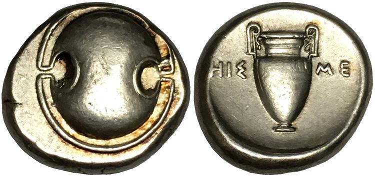Antika Grekland, Boeotia, Thebes, Silverstater. cirka 379-368 f.Kr - VACKERT EXEMPLAR