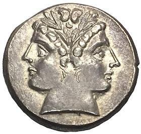 Romerska Republiken - Didrachm i silver ca 225-214 f.Kr med Janushuvud i LÄCKER KVALITET