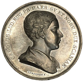 Sverige, Karl (XV 1859-1872), Silvermedalj utgiven med anledning av Prins Karls första besök i Skåne den 1 augusti 1836 graverad av Lundgren