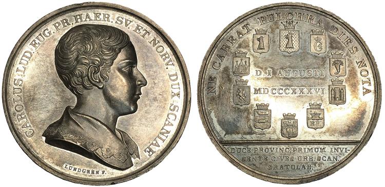 Sverige, Karl (XV 1859-1872), Silvermedalj utgiven med anledning av Prins Karls första besök i Skåne den 1 augusti 1836
