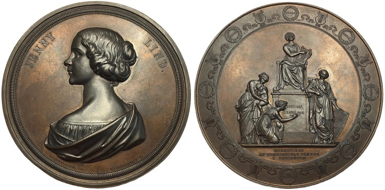 Sverige, Jenny Lind 1820-1887, Operasångerska - Näktergalen, Bronsmedalj i originaletui