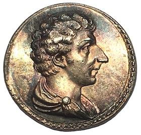 Sverige, (Karl XIV Johan), Jean Baptiste Bernadotte som svensk tronföljare, segern vid Leipzig 1813, Minnesmedalj i silver - RAR - graverad av Carl Enhörning