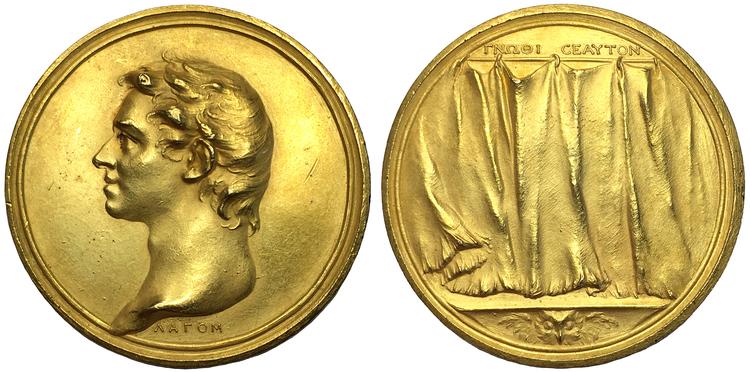 Johann Carl Hedlinger  (1691-1771), Förgylld bronsmedalj med Hedlingers självporträtt - RAR
