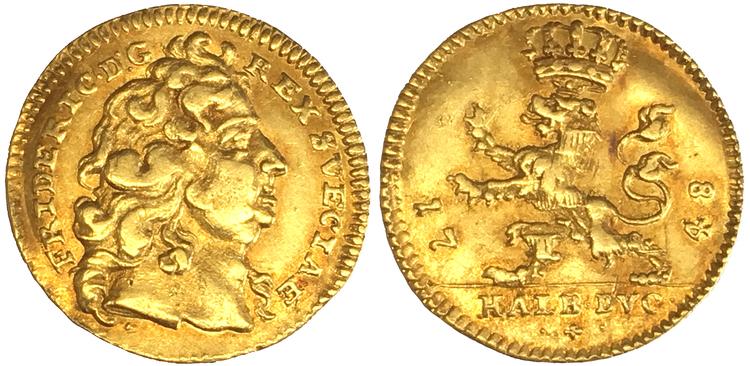 Sverige, Fredrik I 1720-1751, Lantgreve av Hessen-Kassel, guld 1/2 dukat 1748 - Sällsynt typmynt!