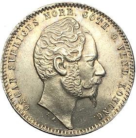 Sverige, Oskar I 1844-1859, 1 Riksdaler riksmynt 1857 - VACKERT SILVERMYNT - Ettårstyp