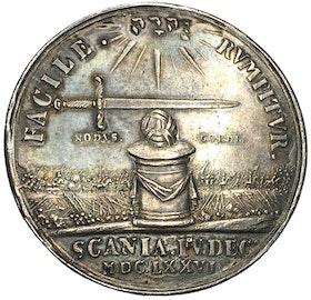 Sverige, Karl XI 1660-1697,  Segern vid Lund 1676 av J.G. Breuer - VACKERT EXEMPLAR