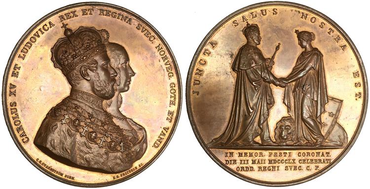 Sverige, Karl XV 1859-1872 - Bronsmedalj till kröningen 1860 - OCIRKULERAT TOPPEXEMPLAR av J.E. Ericsson