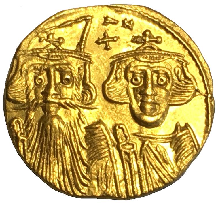 Bysantinska riket, Constans II 641-668 e.Kr, Guldsolidus - OCIRKULERAT PRAKTEXEMPLAR