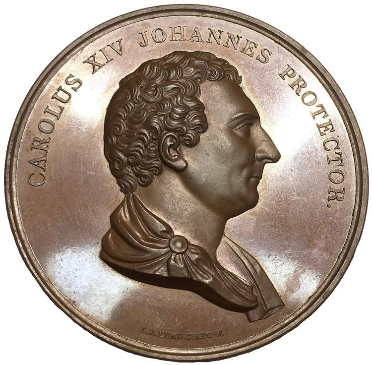 Sverige, Karl XIV Johan 1818-1844, Bronsmedalj 1839 till 100-årsdagen av Kungliga Vetenskapsakademien