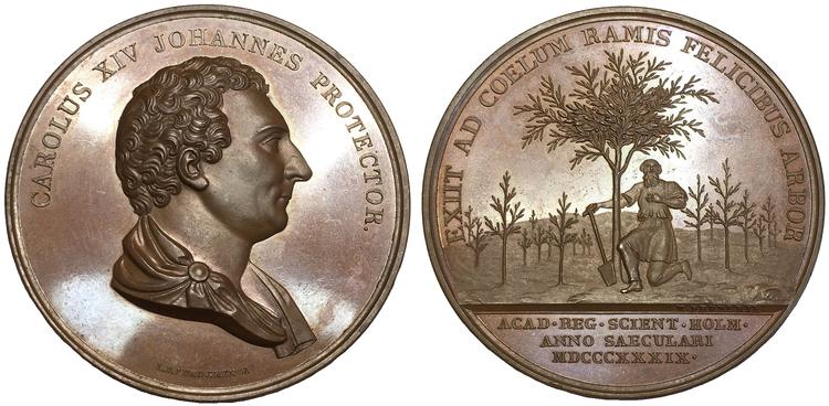Sverige, Karl XIV Johan 1818-1844, Bronsmedalj 1839 till 100-årsdagen av Kungliga Vetenskapsakademien av Lundgren