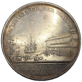 Sverige, Gustav III 1771-1792, Silvermedalj 1782 Skeppsbron i Stockholm - YTTERST SÄLLSYNT - XR