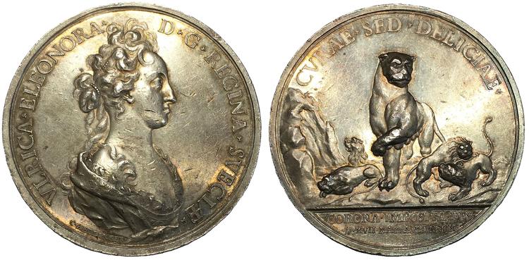 Sverige, Ulrika Eleonora 1719-1720, Silvermedalj av Hedlinger till drottningens kröning 1719