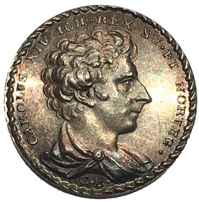 Sverige, Karl XIV Johan 1818-1844, Silvermedalj av C. Enhörning till konungens kröning 11 maj 1818 - SÄLLSYNT