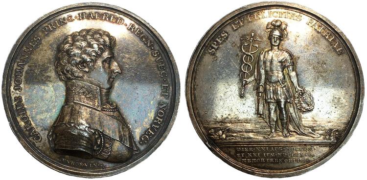 Sverige, Karl (XIV) Johan som kronprins, Silvermedalj utgiven med anledning av besöket i Örebro 1814. Graverad av C. Enhörning