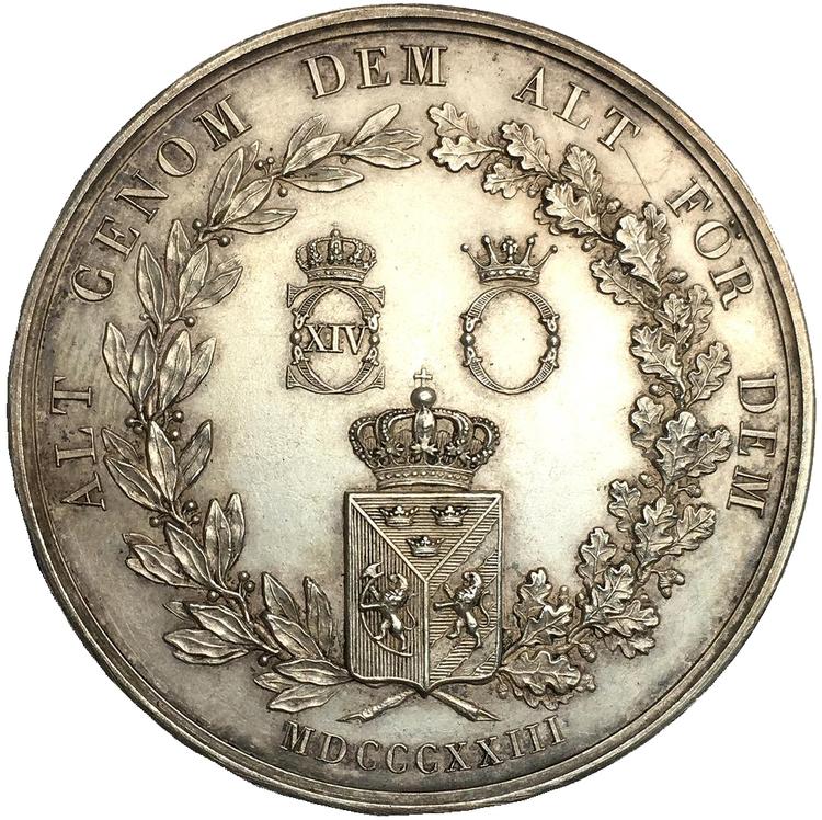 Sverige (Karl XIV Johan), Silvermedalj med anledning av Drottning Desiderias ankomst till Sverige 1823 av Barre