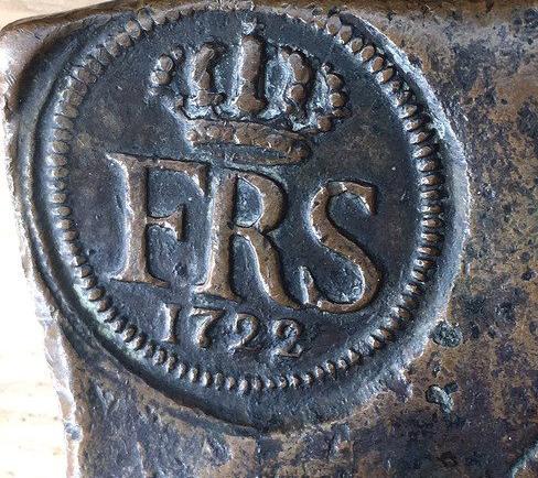 Sverige, Fredrik I 1720-1751, Plåtmynt, Avesta 1/2 Daler Silvermynt 1722 - TREVLIGT EXEMPLAR