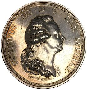 Sverige, Gustav III 1771-1792, Silvermedalj med anledning av att borgerskapets priviliegier stadfästs 1789 av C. Enhörning