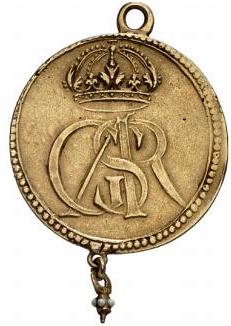 Sverige, Gustav II Adolf 1611-1632, Tapperhetsmedalj i guld med pärlhänge, YTTERST SÄLLSYNT, RRR