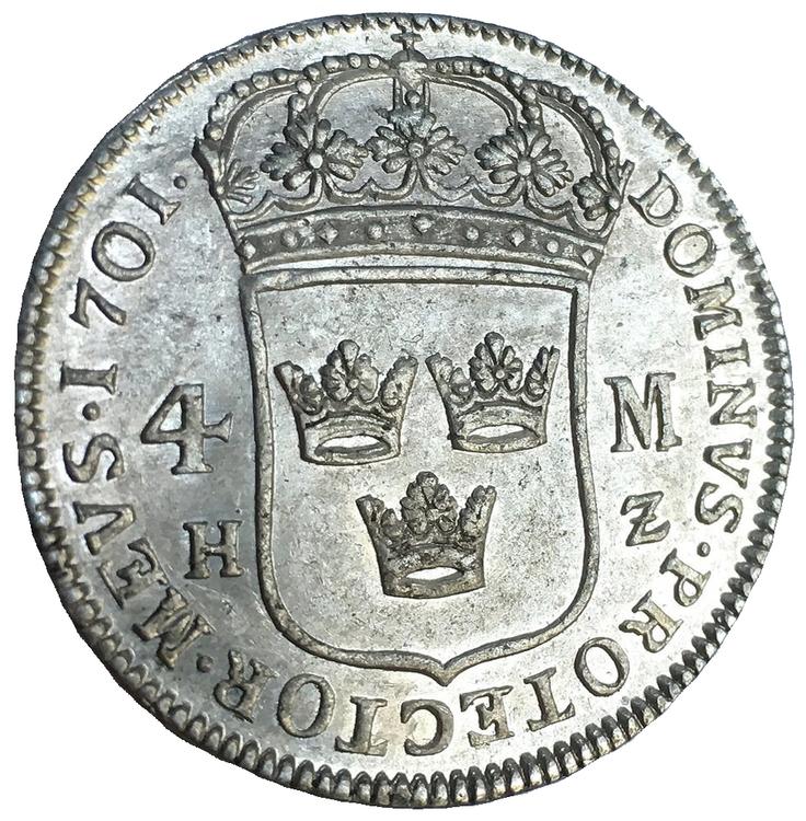 Sverige, Karl XII 1697-1718, 4 Mark 1701 i silver - LÄCKER KVALITET