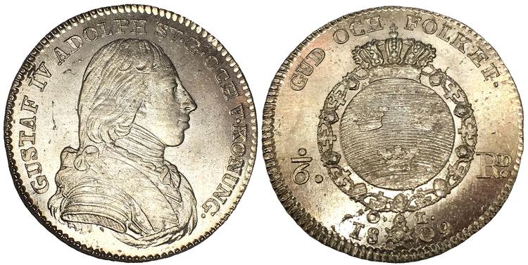 Sverige, Gustav IV Adolf 1792-1809, 1/6 Riksdaler 1809 - VACKERT SILVEREXEMPLAR