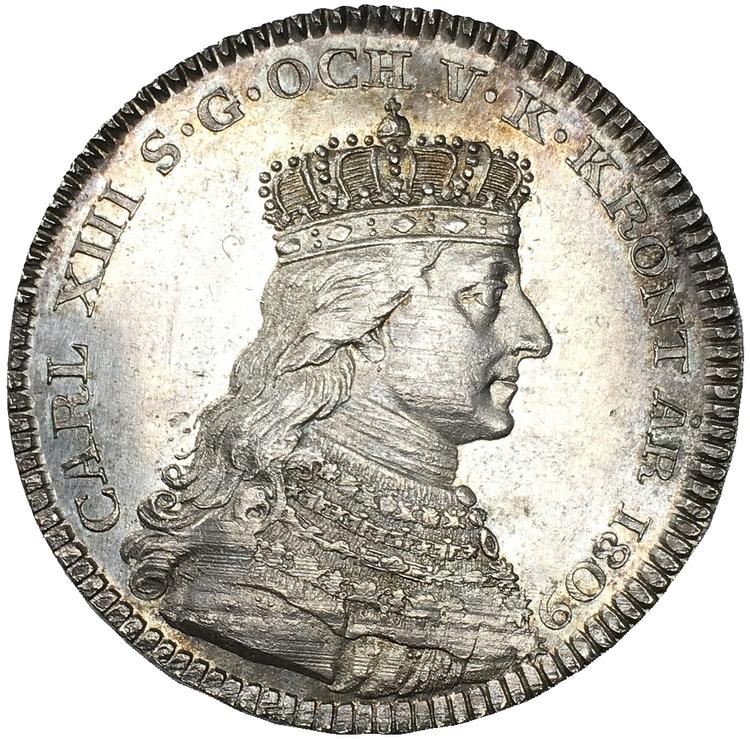 Sverige, Karl XIII 1809-1818, Kastmynt till konungens kröning 1809, 1/3 riksdaler i silver - VACKER KVALITET