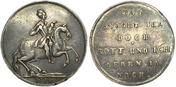 Sverige, Karl XII 1697-1718, Stralsund - 1/4 Taler avslag i silver av 3 dukater 1714