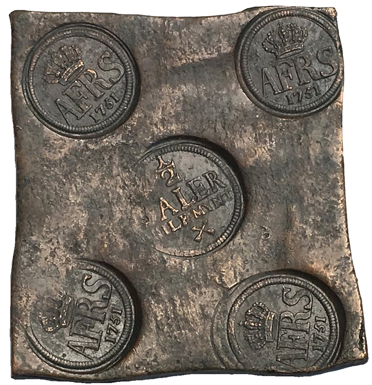 Sverige, Adolf Fredrik 1751-1771, Avesta, Plåtmynt 1/2 Daler silvermynt 1751 - VACKERT EXEMPLAR