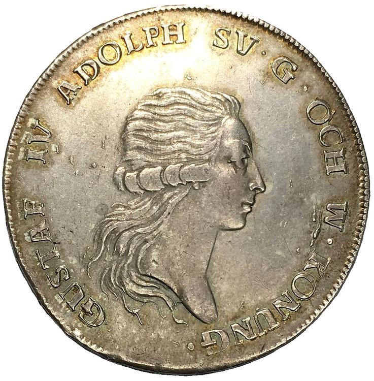Sverige, Gustav IV Adolf 1792-1809, Silverriksdaler 1792 - TILLTALANDE  EXEMPLAR