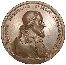 Sverige, Fredrik I 1720-1751, Biskop Erik Benzelius - vacker bronsmedalj graverad av Hedlinger