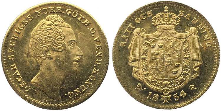 Sverige, Oskar I 1844-1859, gulddukat 1854 med stor A i Mm AG - TOPPEXEMPLAR